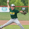 Highlander Youth Recreation All-Star Xavier McCulloch fires a pitch during HYR's 7-2 victory over Greater Clark in the District 5 ten year-old championship game at Kevin Hammersmith Memorial Park on Monday.  Photo by Joe Ullrich