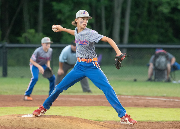 Silver Creek All-Star pitcher Guy Proctor fires a pitch during their 9-4 victory over Jeff/GRC in the District 5 twelve year-old championship game at Kevin Hammersmith Memorial Park on Monday.  Photo by Joe Ullrich