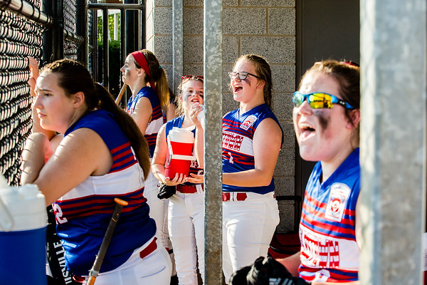 Charlestown's dugout erupts after scoring a run during their Junior Softball State Tournament win against DeMotte at Clarksville Little League fields on Friday.