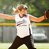 Shalynn Murphy pitches during Clarksville's game against Charlestown at the Clarksville Little League Park on Monday. Staff photo by Christopher Fryer