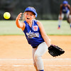 Hailey Metzger pitches during Charlestown's game against Clarksville at the Clarksville Little League Park on Monday. Staff photo by Christopher Fryer