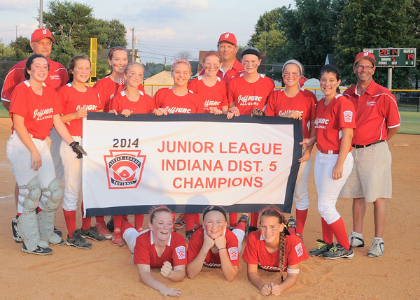 The Jeff/GRC All-Star team poses with the championship banner after beating New Albany 19-0 on Wednesday at Clarksville Little League Park to advance to the state tournament. Photo by Joe Ullrich