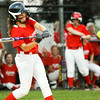 Jeff/GRC's Casey Schweitzer connects for a two-run double during Jeff's game against Riverfield in Clarksville on Friday. Staff photo by Christopher Fryer
