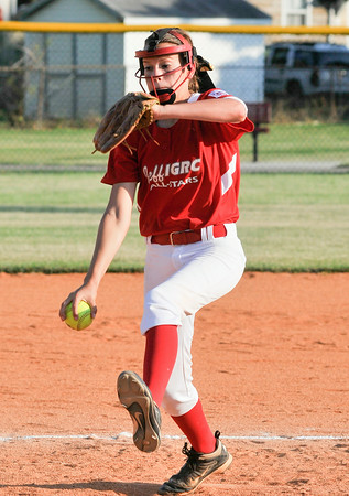 Jeff/GRC All-Star Camryn Teague fires a pitch to the plate during Jeff/GRC's 19-0 shutout victory over New Albany during Wednesday's District 5 Junior Softball Championship game. Photo by Joe Ullrich