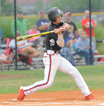 New Albany All-Star Jonah Boone takes a swing during first inning action during Friday's 13/14 year old Indiana State tournament game against Bedford. Photo by Joe Ullrich