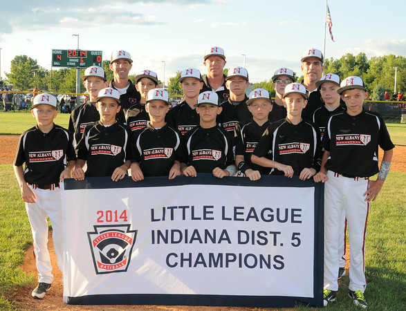 The New Albany All-Star, Major division, little league team displays the championship banner   after beating Jeff/GRC 4-0 for the District 5 title on Tuesday. Photo by Joe Ullrich