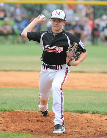 New Albany All-Star Cooper Biven fires a pitch to the plate during Monday's postponed District 5, Major division championship game against Jeff/GRC. Photo  by Joe Ullrich