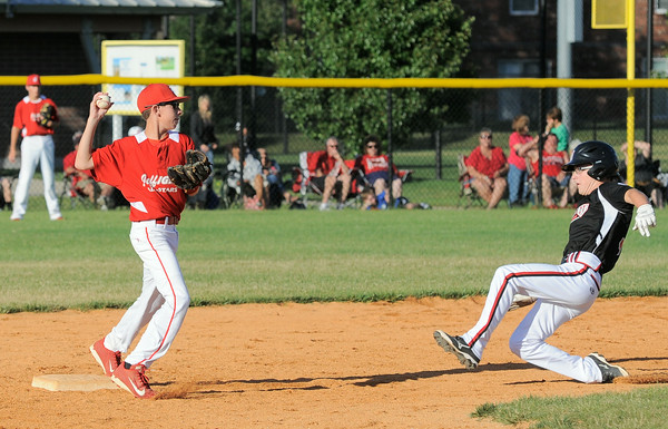 Jeff/GRC All-Star Dylan Thomas gets the out at second base during Tuesday's District 5, Major division championship game against New Albany. Photo by Joe Ullrich