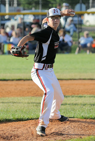 New Albany All-Star Josh Castleman throws a pitch to the plate during Tuesday's District 5, Major division championship game against Jeff/GRC. Photo by Joe Ullrich