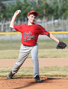 KRISTIN BAUER | CHRONICLE  Elyria pitcher Clayton Peloquin pitches against Avon on Tuesday evening, July 5.