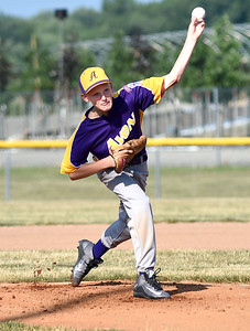 KRISTIN BAUER | CHRONICLE  Avon pitcher Joseph Roesch (8) pitches against Elyria on Tuesday evening, July 5.