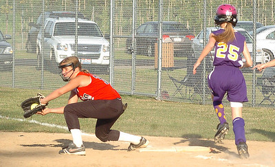 Top of 5th - Elyria's #12 Aubrey Frazier makes the catch at 1st base before Avon's #25 Kelsey Wearsch can make it down the line.  The final out winning the game for Elyria.