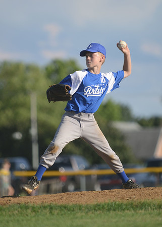 HALEY WARD | THE GOSHEN NEWS <br /> Bristol's Calvin Bailey pitches during the Goshen vs. Bristol game on Friday at the Goshen Little League Park.