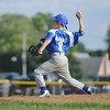 HALEY WARD | THE GOSHEN NEWS <br /> Bristol's Trevin Schlabach pitches during the Goshen vs. Bristol game on Friday at the Goshen Little League Park.