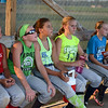 HALEY WARD | THE GOSHEN NEWS <br /> Makenna Steele, Kenlee Gall, Brooke Sanchez, Lauren Wuthrich, Makayla Culp and Lillian Coffman listen to their coach following their practice on Monday at Hoover Field in New Paris.