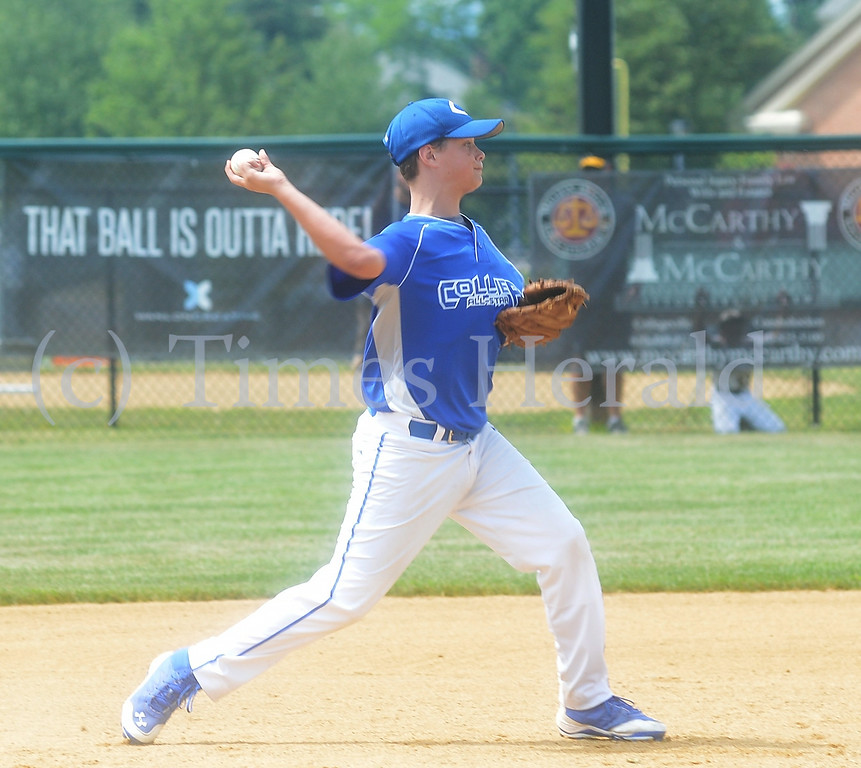 . Collier\'s third baseman Ethan Beachy throws to second base for the out.  Saturday, July 25, 2014.  Photo by Adrianna Hoff/Times Herald Staff.