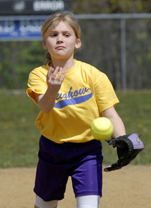 Leighow's Olivia Yakup sends a pitch to the plate during opening day of  Danville's 2012 Little League season Saturday.