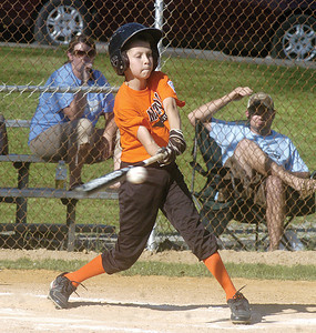 Milton's Bryce Gower bats against Snyder County during Monday's game at the Acorn Little League Field in Northumberland.