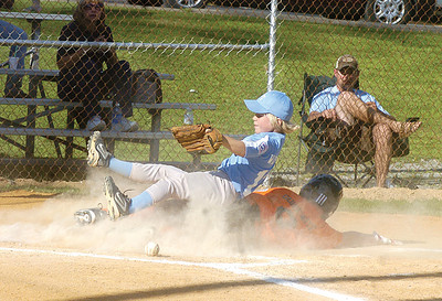 Snyder County's Hunter Wolfey lands on Milton's Dalton Guisewite after attempting to tag him out at home.