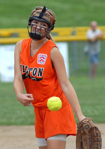 Milton's Brouse sends a pitch past the plate during their 9-6 win over Berwick in the District 13 Major Championship Saturday June 30, 2012 at Brown Ave. Park in Milton.