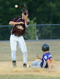 Danville's Matt Schiffino steals second base before the throw to Shik Acorn's Derek Amerman during the D13 Junior Division final Friday July 13, 2012 at Monroe Township Park.