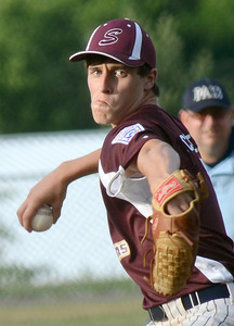 Shikellamy's Christian Schlegel delivers a pitch during their game against Troy Saturday July 21, 2012 at Monroe Township Park.