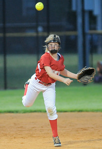 Jeff/GRC All-Star shortstop Hannah Hackworth throws to first for an out during Friday's 9/10 year old Indiana State softball Tournament game against Bedford. Photo by Joe Ullrich