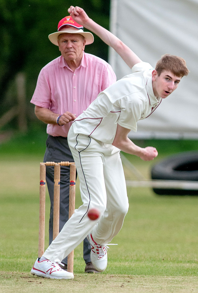 Young Amport bowler Nathan Birks pictured during his side's home win over Porchester. 7th May, 2016 - Picture Andy Brooks