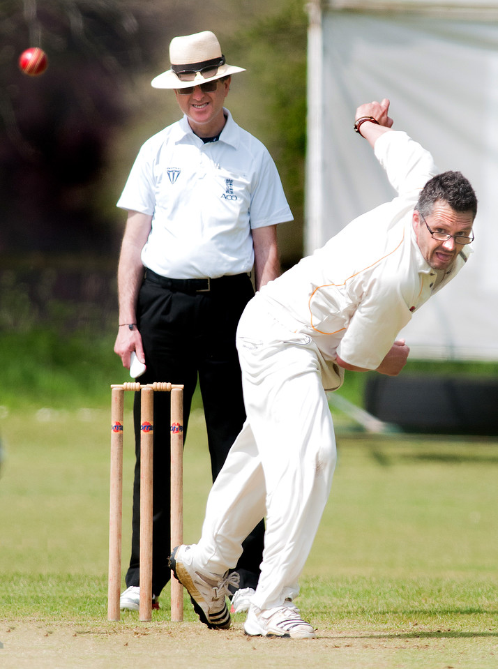 Amport bowler Leighton Bone pictured during his side's home win on Saturday. 7th May, 2016 - Picture Andy Brooks