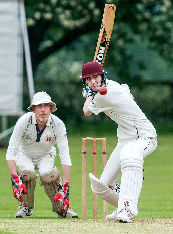 Amport youngster Nathan Birks hitting his way to 101 to help the village's 2nd team to victory over Old Basing. 4th June, 2016 - Picture Andy Brooks
