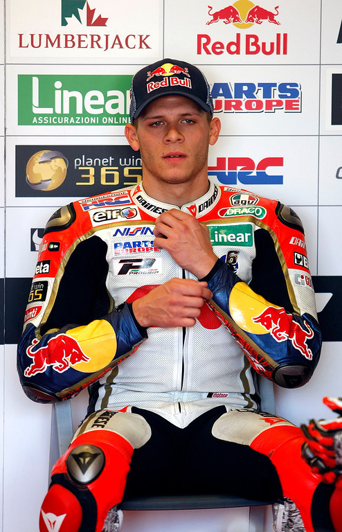 . Stefan Bradl from Germany in the LCR Honda MotoGp garage, at Mazda Raceway Laguna Seca prior to the morning warm-up session for the Red Bull U.S. Grand Prix in Monterey on July 21, 2013.  (Vern Fisher/Monterey County Herald)