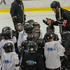 Former Boston Bruin and NHL veteran Hal Gill gathers the participants of the Little Bruins Youth Hockey Program at the Gaetz Arena at Wallace Civic Center. SENTINEL&ENTERPRISE/ Jim Marabello
