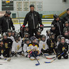 Former Boston Bruin and NHL veteran Hal Gill along with local youth hockey coaches and participants in the Little Bruins Youth Hockey Program at the Gaetz Arena at Wallace Civic Center. SENTINEL&ENTERPRISE/ Jim Marabello