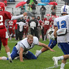 Leominster's Anthony Danidini looses his helmet after an attempted tackle