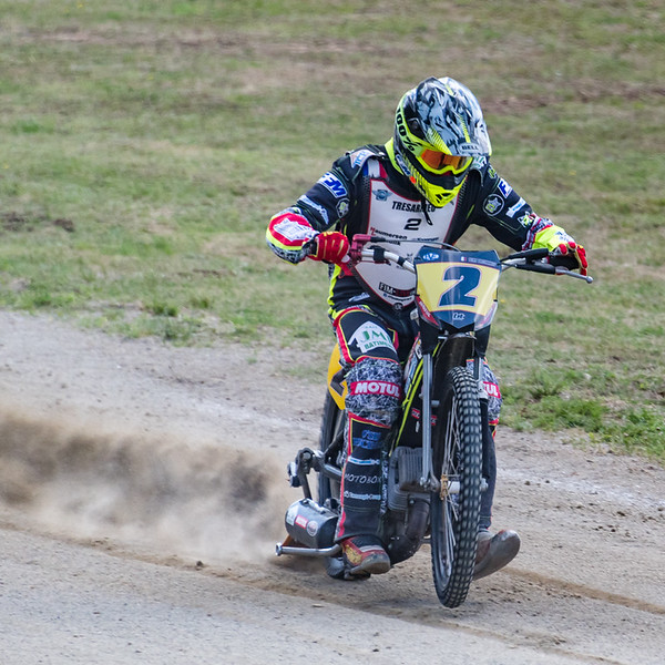 """Mathieu Tresarrieu practises a start.  Mathieu was the """"local boy"""" at the meeting and was leading the World Championship standings.  he reached the final on the night and crowned World Champion."""