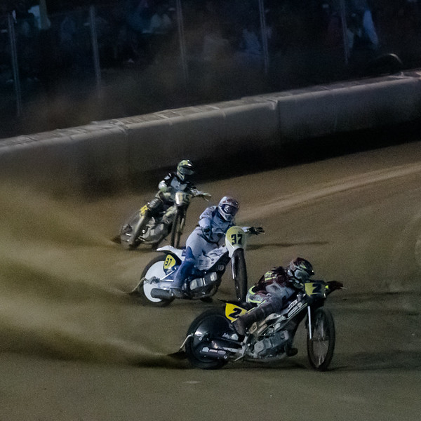 The main event was held on a floodlit track after dark.