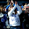 "(From left to right) Longmont seniors Bailey Delaroy, Madison Brooks, and Caylin Delaroy cheer on the Trojans during the class 4A state championships at Invesco Field at Mile High Stadium in Denver, Saturday, Dec. 5, 2009. Heritage High School won the title, 42-28. <br /> <br /> For more photos, please visit  <a href=""http://www.dailycamera.com"">http://www.dailycamera.com</a><br />  <br /> KASIA BROUSSALIAN / THE CAMERA"