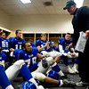 "Longmont High School head coach Doug Johnson gives a pep talk in the locker room before the second half during the class 4A state championships against Heritage High School at Invesco Field at Mile High Stadium in Denver, Saturday, Dec. 5, 2009. Heritage High School won the title, 42-28. <br /> <br /> For more photos, please visit  <a href=""http://www.dailycamera.com"">http://www.dailycamera.com</a><br />  <br /> KASIA BROUSSALIAN / THE CAMERA"