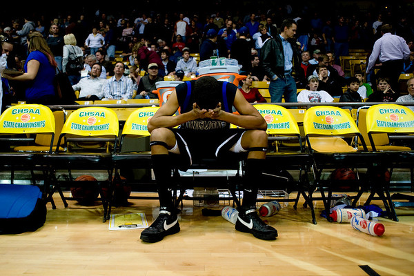 Longmont's Marcus Donaldson reacts after losing to Pueblo East for the semifinals of the boys 4A State Championships at the Coors Event Center on the University of Colorado campus in Boulder, Thursday, March 11, 2010. <br /> <br /> KASIA BROUSSALIAN