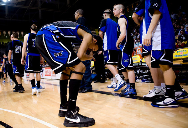 Longmont's Pueblo Central's during the semifinals of the boys 4A State Championships at the Coors Event Center on the University of Colorado campus in Boulder, Thursday, March 11, 2010. <br /> <br /> KASIA BROUSSALIAN