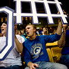 (From left to right) Jennifer Carpenter, Josh Burke, and Gary Carpenter, all of Longmont, cheer on Longmont High School during the 4A State Basketball Playoffs at the Coors Event Center on the University of Colorado campus in Boulder, Wednesday, March 10, 2010. <br /> <br /> KASIA BROUSSALIAN