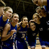 The Longmont girl's basketball team does a team huddle before playing Mullen for the semifinals during the 4A State Basketball Playoffs at the Coors Event Center on the University of Colorado campus in Boulder, Wednesday, March 10, 2010. <br /> <br /> KASIA BROUSSALIAN