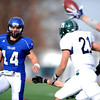 Longmont's Jake Johnson throws an incomplete pass to teammate Drew Edwards (33) as Pine Creek's Kenny Klein (21) defends during the Class 4A State Quarterfinals at Longmont High School in Longmont, Saturday, Nov. 21, 2009.<br /> <br /> KASIA BROUSSALIAN /THE CAMERA
