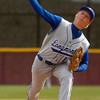 """Longmont's Dylan Pollock,#13, pitches in the first inning of the Longmont vs. D'Evelyn baseball game on  May, 18, 2012, Aurora.<br /> Photo by Derek Broussard<br /> For more photos visit  <a href=""""http://www.dailycamera.com"""">http://www.dailycamera.com</a>"""