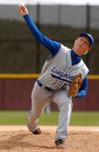 Longmont's Dylan Pollock,#13, pitches in the first inning of the Longmont vs. D'Evelyn baseball game on  May, 18, 2012, Aurora. Photo by Derek Broussard For more photos visit www.dailycamera.com