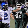 """Longmont High School senior Cameron Herbert runs the ball in the third quarter of the football game against Niwot High School on Thursday, Oct. 8, at Longmont High School.<br /> For more photos go to  <a href=""""http://www.dailycamera.com"""">http://www.dailycamera.com</a><br /> Photo by Jeremy Papasso"""