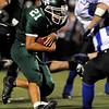 """Niwot High School running back Dillon Manzanares rushes in for a touchdown in the second quarter of the football game against Longmont High School on Thursday, Oct. 8, at Longmont High School.<br /> For more photos go to  <a href=""""http://www.dailycamera.com"""">http://www.dailycamera.com</a><br /> Photo by Jeremy Papasso"""
