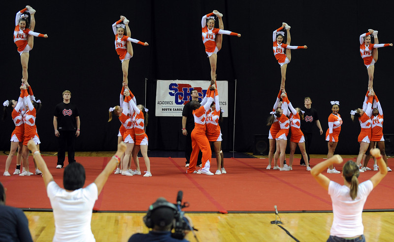 Looking back at the Mauldin Cheerleaders.<br /> GWINN DAVIS PHOTOS<br /> gwinndavisphotos.com (website)<br /> (864) 915-0411 (cell)<br /> gwinndavis@gmail.com  (e-mail) <br /> Gwinn Davis (FaceBook) <br /> gallery can be found at tribunetimes.com