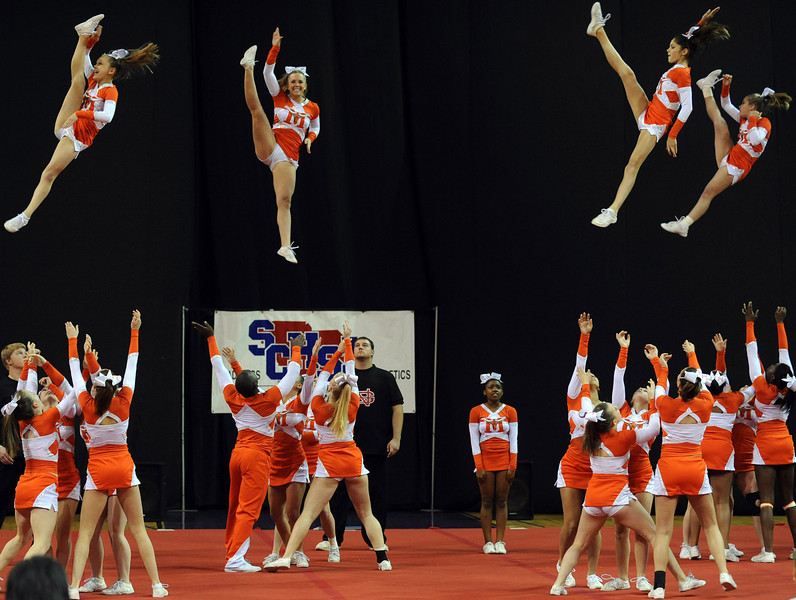 The South Carolina High School League hosted the State Cheerleading Championships at the Bi-Lo Center in Greenville.<br /> GWINN DAVIS / Greenville News Media Group<br /> gdavis@greenvillenews.com<br /> (864) 915-0411<br /> November 19, 2011