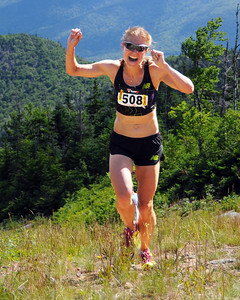 Brandy Erholtz, of Evergreen, Colorado, realizes she's made the US Women's Mountain Running Team, with a 3rd place finish in The Loon Mountain race, which was held at Loon Mountain Resort, in Lincoln, NH, on July 8th, 2012. This year's women's division race was the Women's US Mountain Running team qualifier for the World Mountain Running Championships, to be held this September in Ponte di Legno, Italy. Ms. Erholtz finished with a time of 48:06.